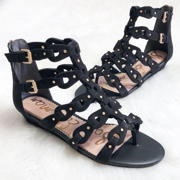 6108b17cfe4d Sam Edelman Draper Cage Black Leather Sandals